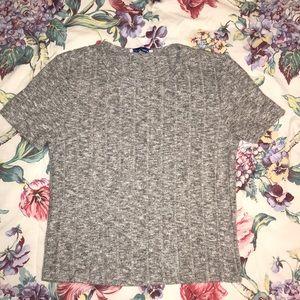 Zara Trafaluc Short Sleeved Soft Knit Grey Top [S]
